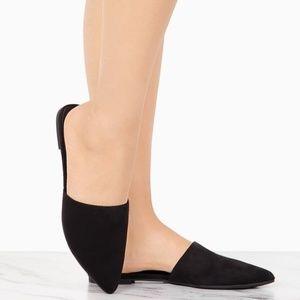 NEW---LADIES SLIP ON FLAT MULES. BLACK